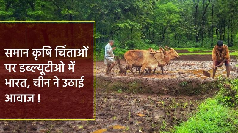समान कृषि चिंताओं पर डब्ल्यूटीओ में भारत, चीन ने उठाई  आवाज