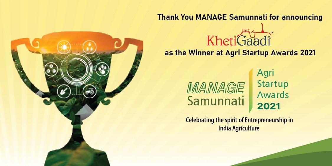 "KhetiGaadi Won Agri Startup Awards 2021 By ""Manage Samunnati'"