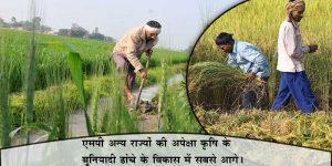 कृषि क्षेत्र के विकास में मध्य प्रदेश सबसे आगे है।