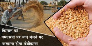 किसान को एमएसपी पर धान बेचने पर करवाना होगा पंजीकरण