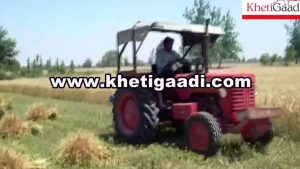 Mahindra Tractor 265 DI with Reaper Binder Machine in Farm